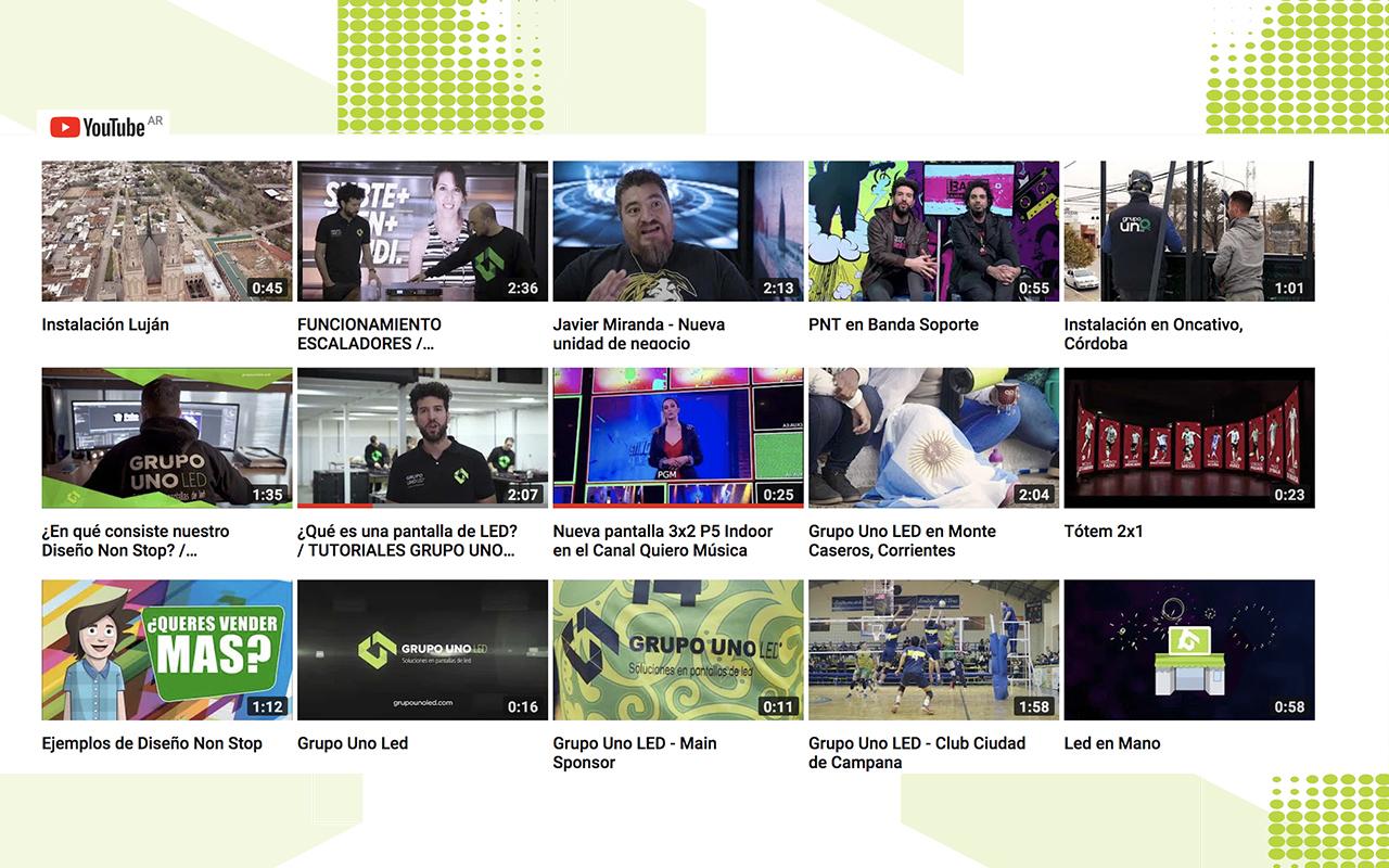 Siguen creciendo los suscriptores en el canal oficial de YouTube de Grupo Uno LED