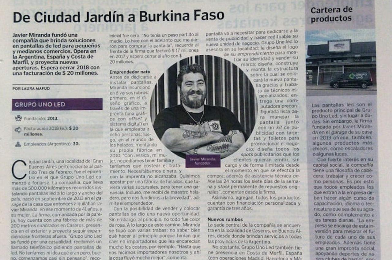 Nota a Javier Miranda, dueño de Grupo Uno LED, en El Cronista de noviembre.