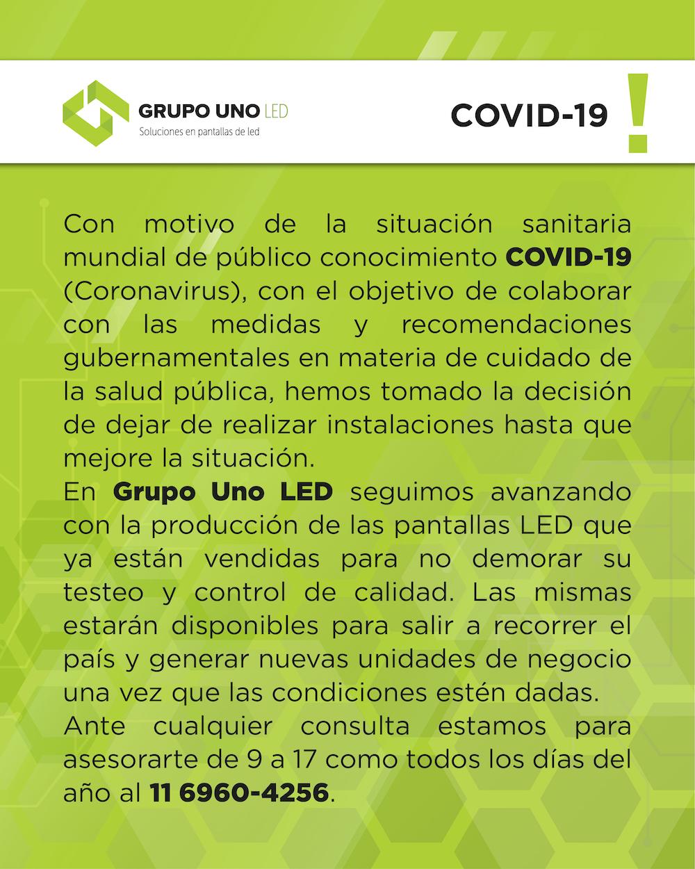 Comunicado de Grupo Uno LED.
